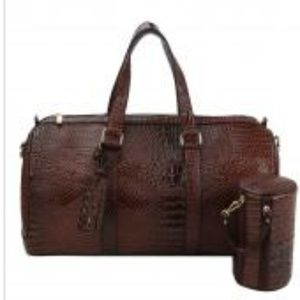 2 Piece Crocodile Print Travel Bag